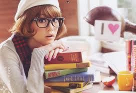 nerdy girl with books